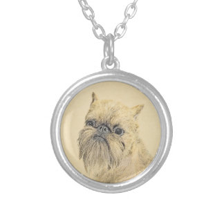 Brussels Griffon Painting - Cute Original Dog Art Silver Plated Necklace
