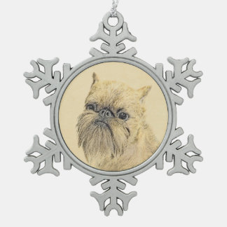 Brussels Griffon Painting - Cute Original Dog Art Snowflake Pewter Christmas Ornament
