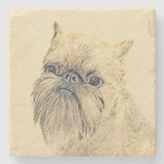 Brussels Griffon Painting - Cute Original Dog Art Stone Coaster