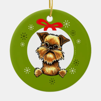 Brussels Griffon Rough Coat Christmas Classic Ceramic Ornament