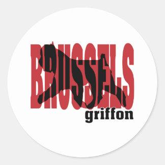 Brussels Griffon silhouette Classic Round Sticker