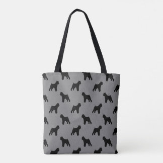 Brussels Griffon Silhouettes Pattern Grey Tote Bag
