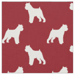 Brussels Griffon Silhouettes Pattern Red Fabric