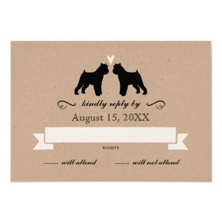 Brussels Griffon Silhouettes Wedding Reply RSVP Card