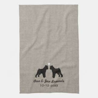 Brussels Griffon Silhouettes with Heart Kitchen Towel