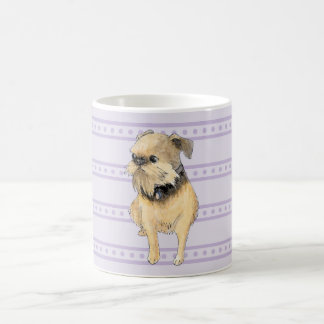 Brussels Griffon Sitting Watercolour in Purple Coffee Mug