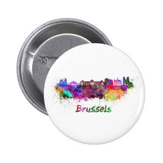 Brussels skyline in watercolor pins