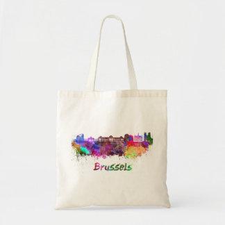 Brussels skyline in watercolor tote bag
