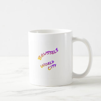 Brussels world city, colorful text art coffee mug