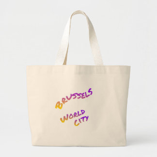 Brussels world city, colorful text art large tote bag