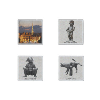 Bruxelles and statues Pis Stone Magnets