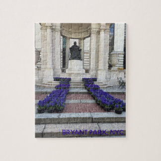 Bryant Park Statue Spring Flowers Planting NYC Jigsaw Puzzle