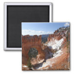 Bryce Canyon Natural Bridge Snowy Landscape Photo Square Magnet