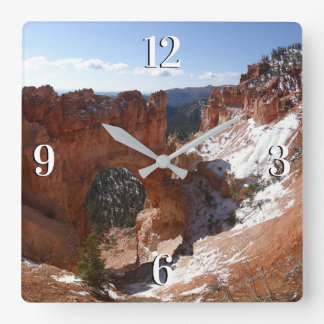 Bryce Canyon Natural Bridge Snowy Landscape Photo Square Wall Clock