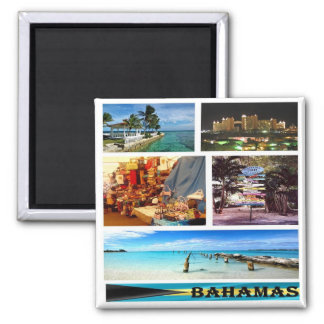 BS - Bahamas - Mosaic Collage Square Magnet
