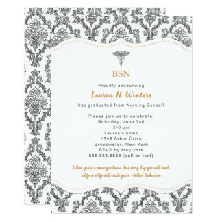 BSN Black with Gold accents graduation party, RN Card