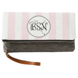 BSN clutch with pink stripes + changeable color