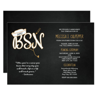 BSN graduation invitation, black gold, with quote Card