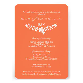 "BSN graduation / RN LPN nurse pinning ceremony 5"" X 7"" Invitation Card"