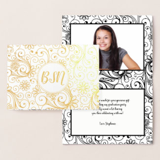 BSN graduation thank you note with photo + message Foil Card