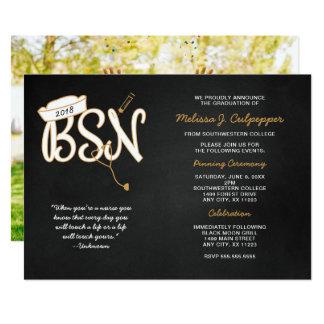 BSN photo graduation pinning party, black gold Card