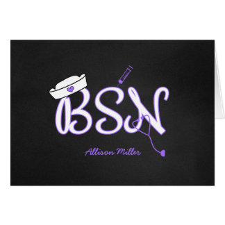 BSN purple thank you cards, nurse graduation Card