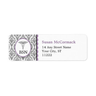 BSN RN LPN Damask Caduceus Black Lavender Return Address Label