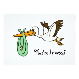 "BT- Funny Stork Baby Shower Invitations 5"" X 7"" Invitation Card"