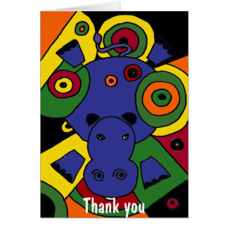 BT- Hippo Abstract Art Thank You Card