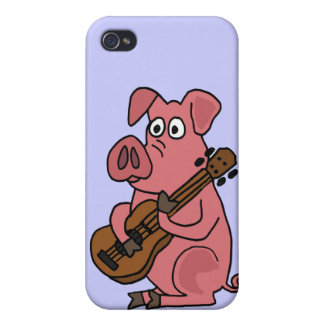 BU- Funny Pig Playing Guitar Cartoon Case For The iPhone 4
