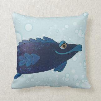 Bubba Adorable Whimsical Fish Art Throw Pillow
