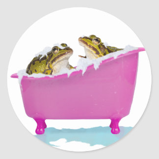 Bubble bath for pet frogs round sticker