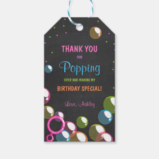 Bubble birthday thank you favor gift tag Girl Pink Pack Of Gift Tags