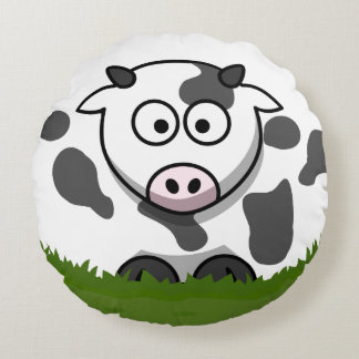 Bubble Cow Round Pillow