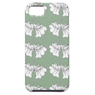 bubble flower white on green case for the iPhone 5