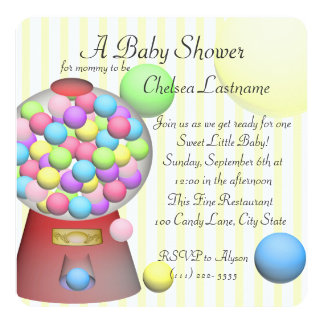 Bubble gum Baby Shower Card