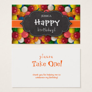 Bubble Gum Bold Gumball Orange Strip Chalkboard Business Card