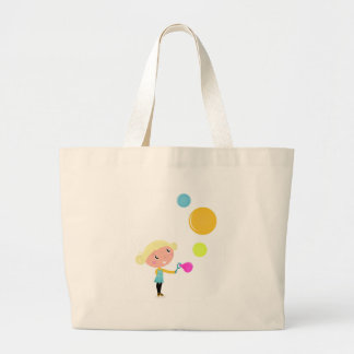 BUBBLE GUM KID. KID WITH BUBBLES LARGE TOTE BAG
