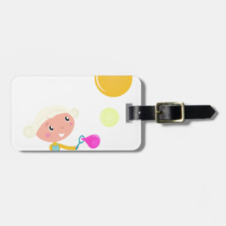 BUBBLE GUM KID. KID WITH BUBBLES LUGGAGE TAG