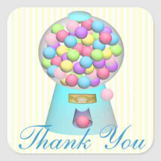 Bubble Gum Machine Thank You Square Sticker