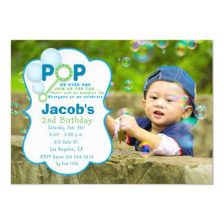 Bubble Pop Boy Photo Birthday Party Invitation