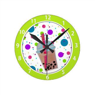 Bubble Tea - Bubble Background Round Clock