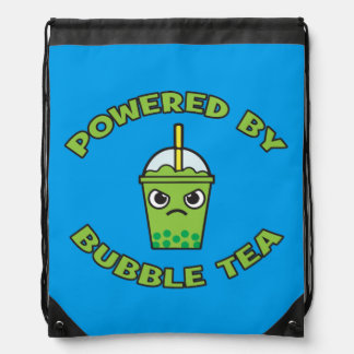 Bubble Tea, Powered By Bubble Tea - Cute Kawaii Drawstring Bag