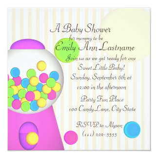 Bubblegum Baby Shower Card