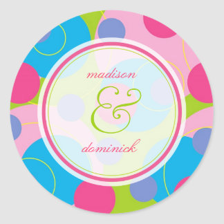 Bubblegum Bubbly Mod Dots Summer Wedding Sticker