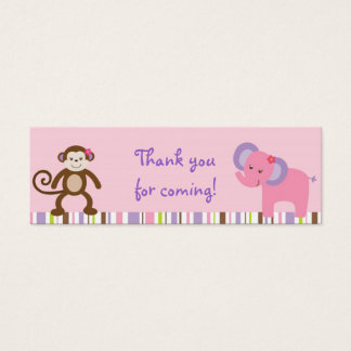 Bubblegum Jungle Animal Party Favor Gift Tags Mini Business Card