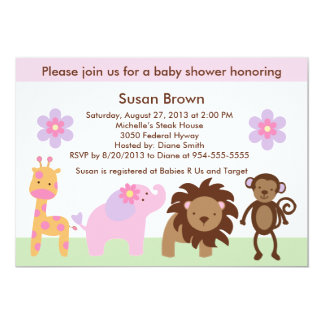 Bubblegum Jungle Animals Baby Shower Invitation