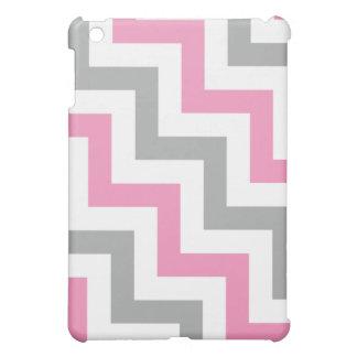 Bubblegum Pink and Gray Geometric Pattern iPad Mini Cover