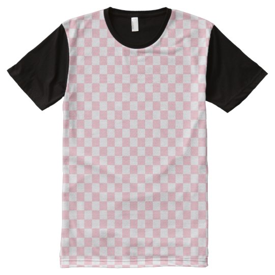 Bubblegum Pink Chequerboard All-Over-Print T-Shirt