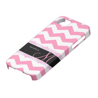 Bubblegum Pink Chevron with Personalized Monogram iPhone 5 Covers